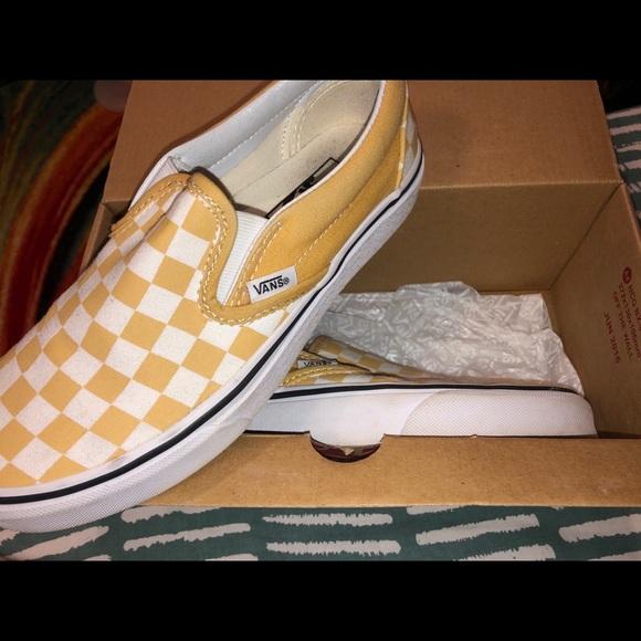 Yellow Checkered Vans - brand new in box